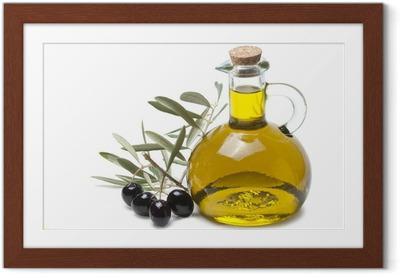 Poster en cadre Rameau d'olivier avec des olives noires et huile d'olive.