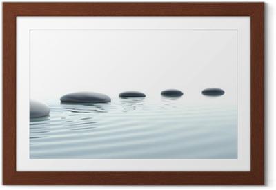 Poster en cadre Chemin de pierres zen sur grand écran