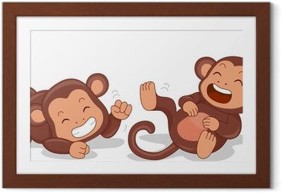 Laughing Monkeys Indrammet plakat