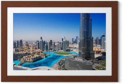 Downtown dubai on suosittu ostospaikka ja nähtävyydet Kehystetty juliste