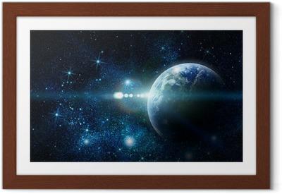 Gerahmtes Poster Realistische Planeten Erde im Weltraum