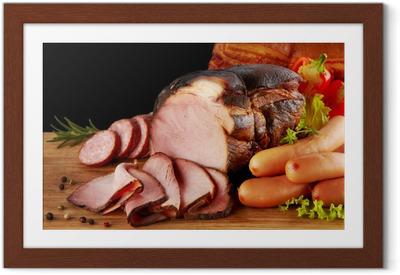 Gerahmtes Poster Geräucherte Fleisch-und Wurstwaren