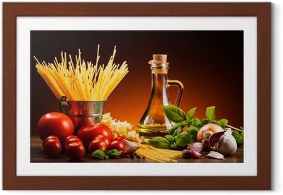 Póster com Moldura Pasta and fresh vegetables