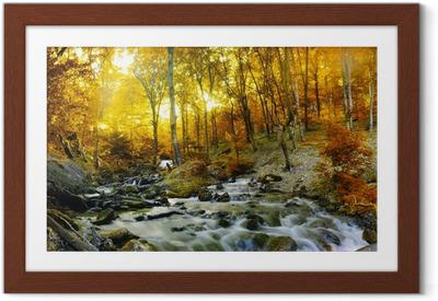 Ingelijste Poster Herfst creek bos met gele bomen