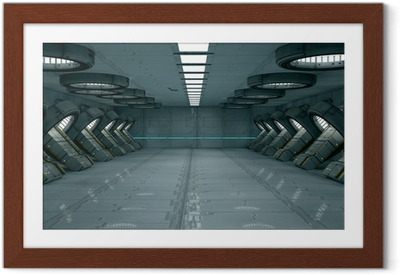 Gerahmtes Poster Futuristic Interior. SCIFI. Science Fiction
