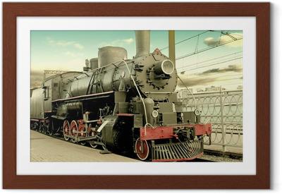 Poster en cadre Vieille locomotive à vapeur à la gare