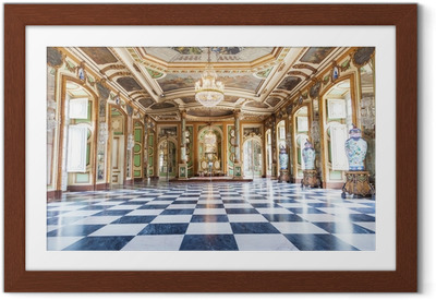 Ingelijste Poster Hall van ambassadeurs in Queluz National Palace, Portugal