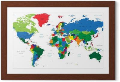 Póster Enmarcado Mapa del mundo-los países