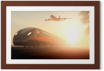 Innrammet plakat Toget og flyet