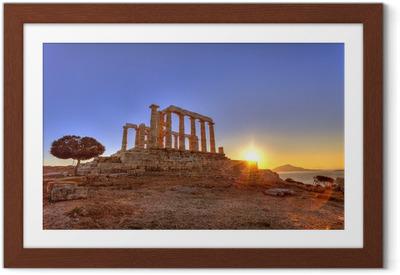 Gerahmtes Poster Poseidon-Tempel, Kap Sounion, Griechenland