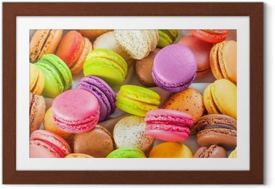 traditional french colorful macarons in a box Framed Poster