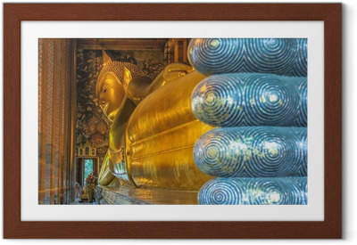 Ingelijste Poster Liggende Boeddha, Wat Pho, Bangkok, Thailand