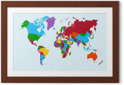 Plakat w ramie Mapa świata, atlas krajów kolorowe eps10 plik wektorowy.