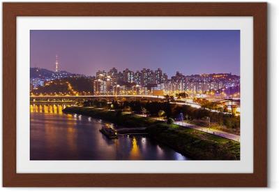 Póster com Moldura Seoul city at night