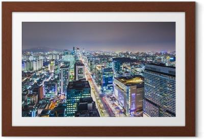Póster com Moldura Seoul, South Korea Skyline
