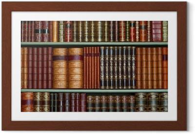 Plakat w ramie Stara Biblioteka rocznika Twarde okładki na półkach