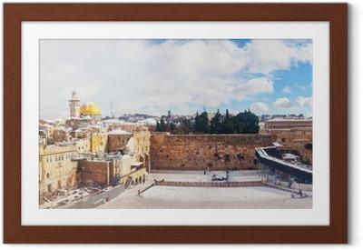Den vestlige mur i Jerusalem, Israel Indrammet plakat