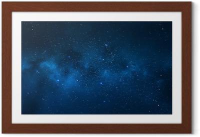 Poster i Ram Natthimlen - Universum fylld med stjärnor, nebulosa och galax