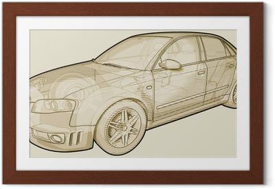 Poster i Ram Perspektiv skissartade illustration av en Audi A4.