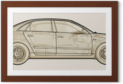Póster com Moldura Perspective sketchy illustration of an Audi A4.
