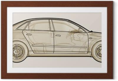 Poster en cadre Représentation en perspective schématique d'une Audi A4.
