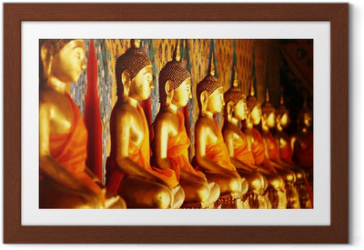 Poster en cadre Rangée de statue en or de Bouddha