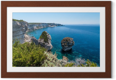Gerahmtes Poster Küste von Bonifacio, Korsika, Frankreich