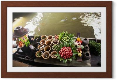 Ingelijste Poster Drijvende markt, Thailand