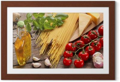 Póster com Moldura Vegetables,herbs and spices for Italian food