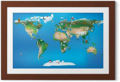 Ingelijste Poster Wereldkaart voor kinderen met behulp van cartoons van dieren en beroemde lan