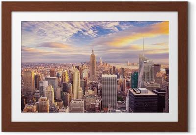 Gerahmtes Poster Sonnenuntergang über Manhattan