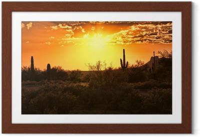Poster en cadre Belle vue de coucher du soleil du désert de l'Arizona avec des cactus - Amérique