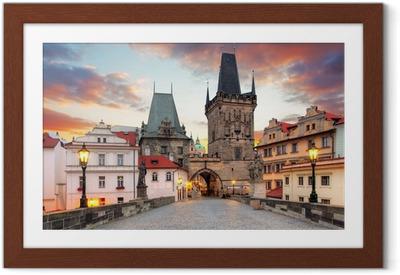 Ingelijste Poster Praag Uitzicht vanaf de Karelsbrug