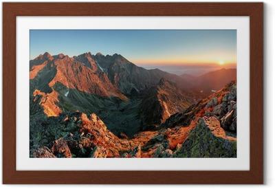 Poster en cadre Montagne Sunset Panorama à partir du pic - Slovaquie Tatras - Thèmes