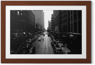 Gerahmtes Poster Black and White Chicago Streets