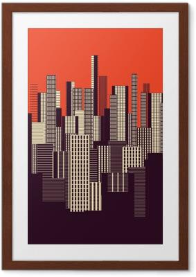Poster i Ram En tre färger grafisk abstrakt stadslandskapet affisch i orange och brunt