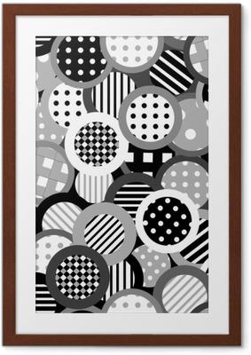 Poster en cadre Fond noir et blanc avec des cercles - Ressources graphiques