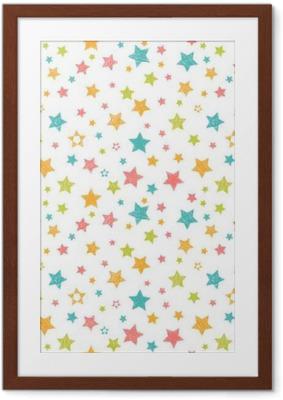 Poster in Cornice Carino seamless con le stelle. stampa alla moda con disegnata a mano