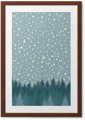 Plakát v rámu Lesní a noční obloha s hvězdou vektorové pozadí. prostor pozadí.