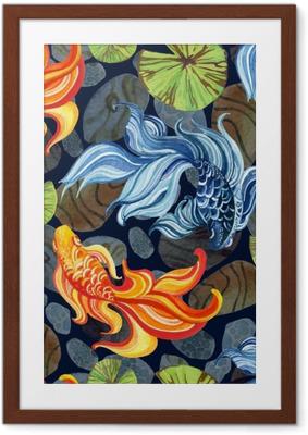 Gerahmtes Poster Aquarell asiatische Goldfische