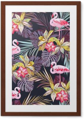 Ingelijste Poster Tropische zomer naadloze patroon met flamingo vogels en exotische planten