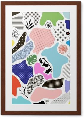 Póster com Moldura Fundo geométrico criativo com elementos florais e texturas diferentes. Vetor