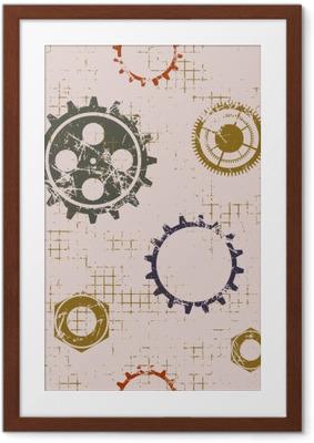 4bb469ed Innrammet plakat Vector sømløs mønstre med mekanisme av ur. Kreative  geometriske beige grunge bakgrunner med