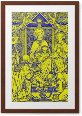 BRATISLAVA, SLOVAKIA, NOVEMBER - 21, 2016: The lithography of Three Magi in Missale Romanum by unknown artist with the initials F.M.S from end of 19. cent. and printed by Typis Friderici Pustet. Framed Poster