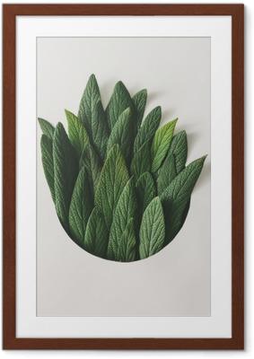 Poster in Cornice Disposizione minima creativa di foglie verdi. concetto di natura. distesa piatta.