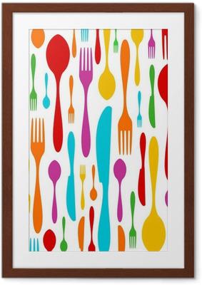Poster en cadre Couverts motif coloré sur blanc