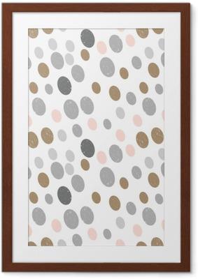 Poster i Ram Modern vektor abstrakt sömlösa geometriska mönster med cirklar i retro skandinavisk stil