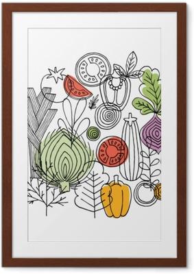 Vihannesten pyöreä koostumus. lineaarinen graafinen. vihannesten tausta. skandinaaviseen tyyliin. terveellinen ruoka. vektori kuva Kehystetty juliste