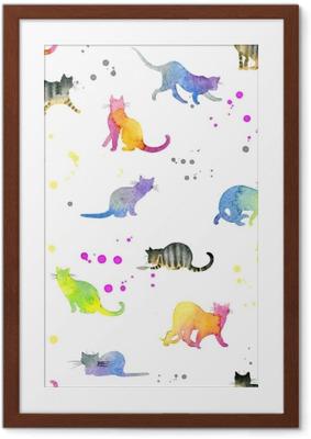 Poster en cadre Modèle sans couture avec des chats mignons - Animaux