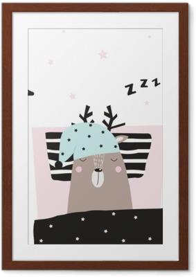 Plakat w ramie Zabawne sarny śpiące w jego łóżku. wektorowa ręka rysująca ilustracja.